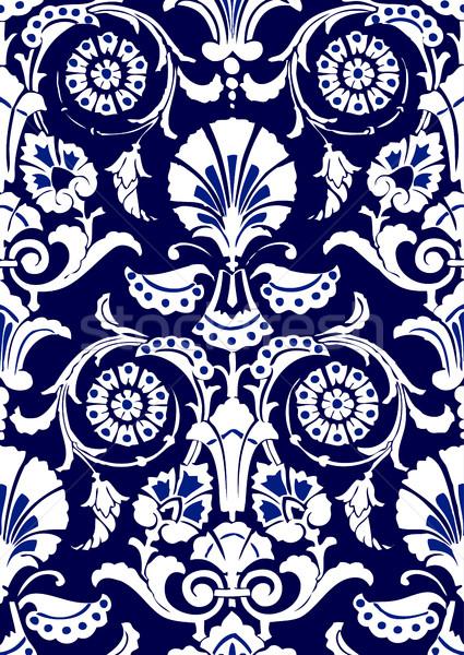 Bleu blanche résumé floral modèle Photo stock © cosveta