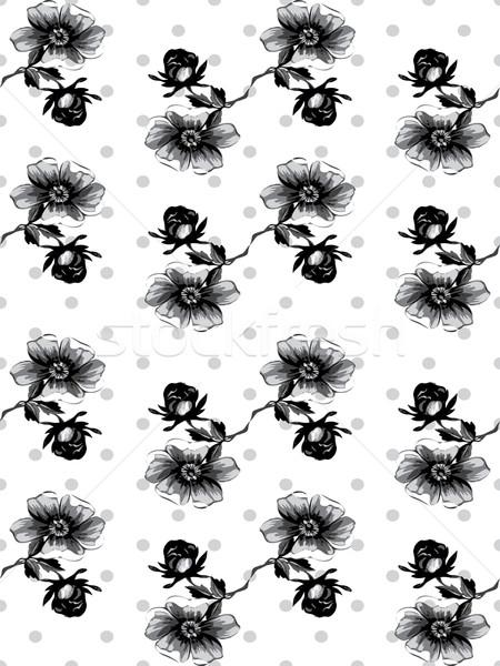 Bezszwowy wzrosła wzór kwiatowy circles polka Zdjęcia stock © cosveta