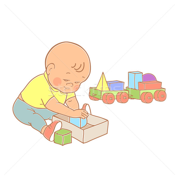 Little lovely baby boy playing with toys. Kid plays with constru Stock photo © cosveta