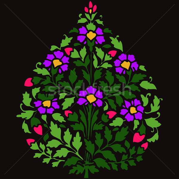Vector color illustration symmetric flourishes plant with flowers and leaf on darck background Stock photo © cosveta