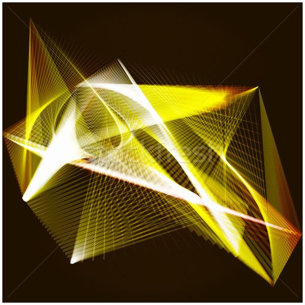 Lines shapes lighting abstract on golden dark background. Vector Stock photo © cosveta
