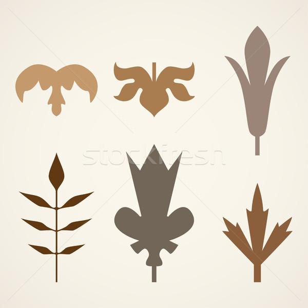 Stockfoto: Decoratief · bruin · bladeren · patroon · ingesteld · geïsoleerd