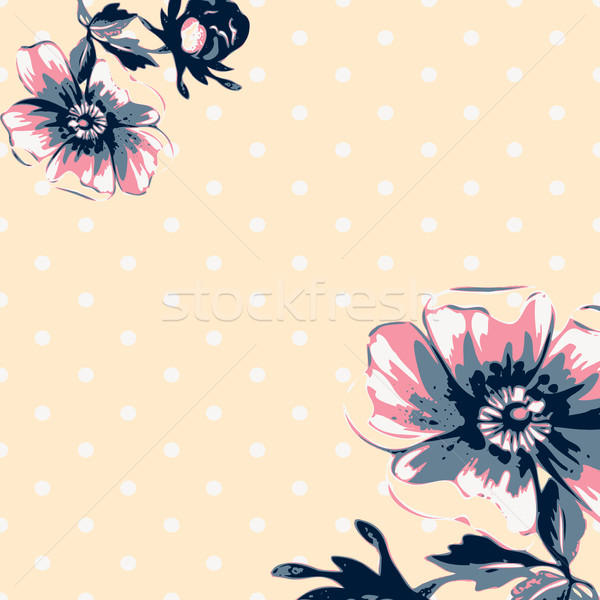 Vintage wallpaper frame rose flower pattern on circles polka bac Stock photo © cosveta
