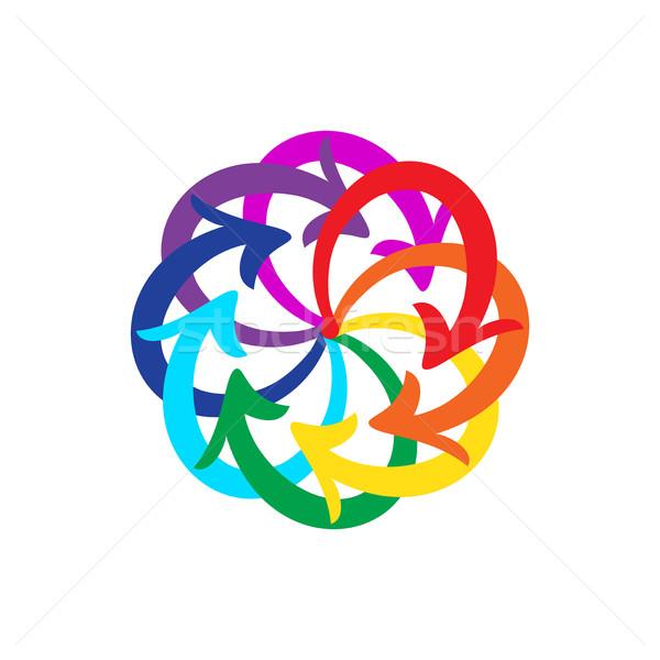 Stockfoto: Vector · pijlen · cirkel · diagram · witte