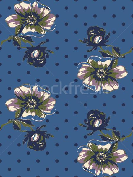 Senza soluzione di continuità rosa modello di fiore polka Foto d'archivio © cosveta