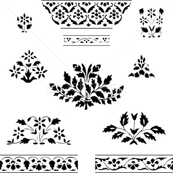 Zestaw roślin granicy kwiatowy biały Zdjęcia stock © cosveta