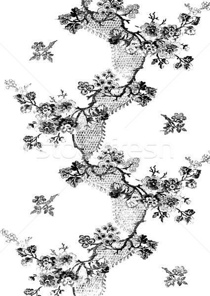 Vintage hand drawn floral pattern with apple blossom branches zi Stock photo © cosveta
