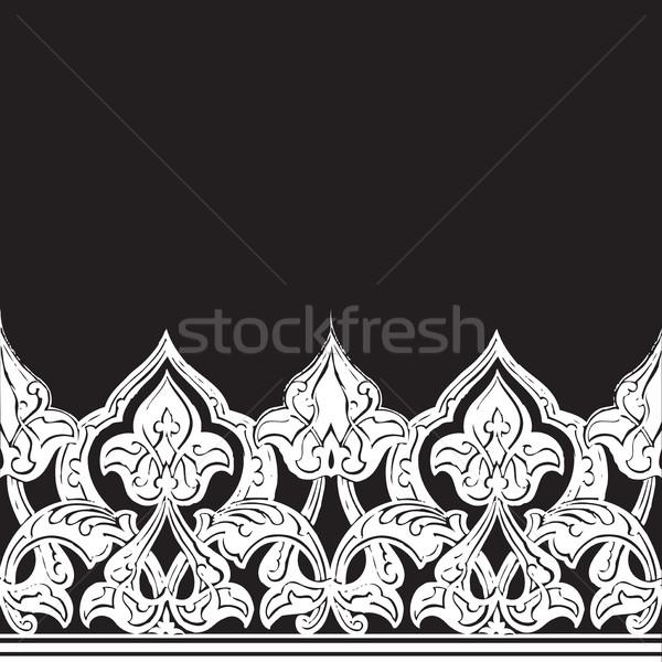 Dekoracyjny bezszwowy granicy arabskie stylu czarno białe Zdjęcia stock © cosveta