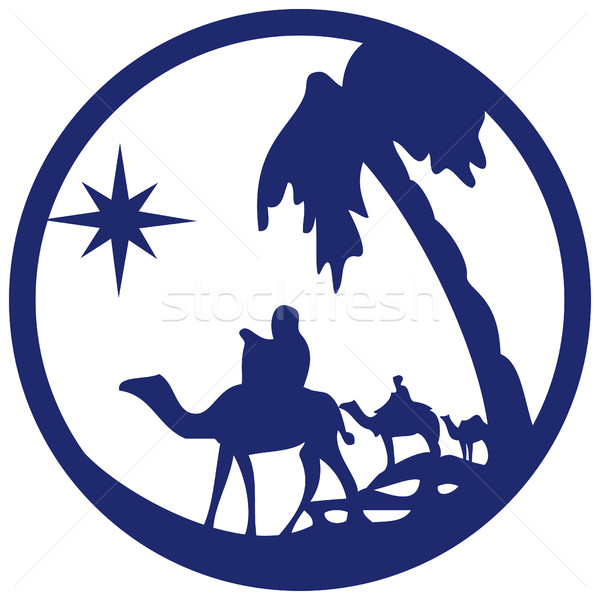 Adoration of the Magi silhouette icon vector illustration blue o Stock photo © cosveta