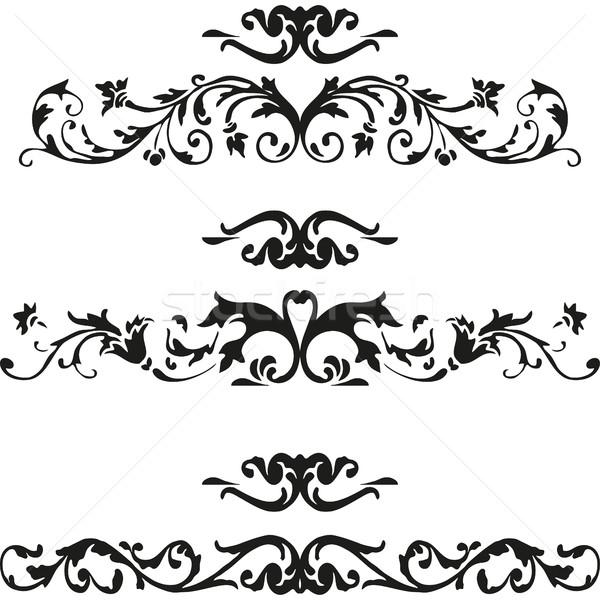 Vector Illustration Set Of Curled Flourishes Decorative Floral