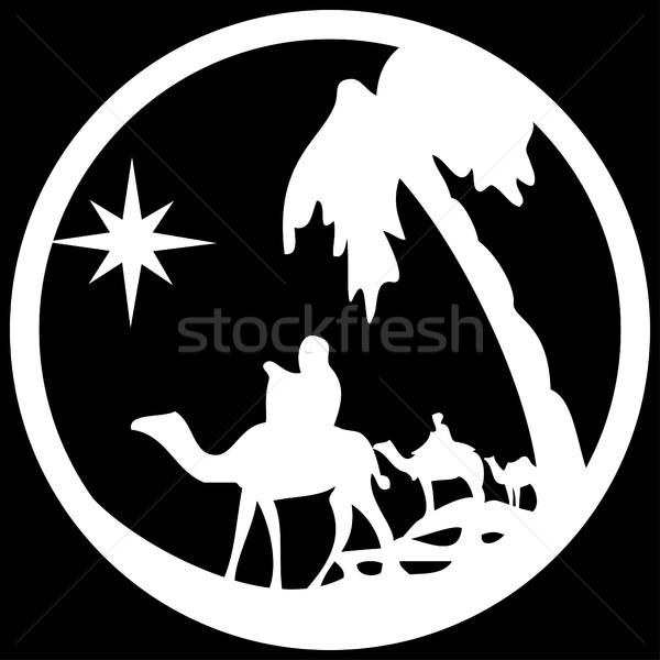 Adorazione silhouette icona bianco nero scena Foto d'archivio © cosveta