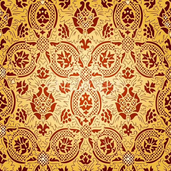 Złota bezszwowy streszczenie kwiatowy wzór vintage Zdjęcia stock © cosveta
