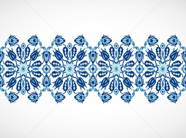 Arabesque lace damask seamless border floral decoration print fo Stock photo © cosveta