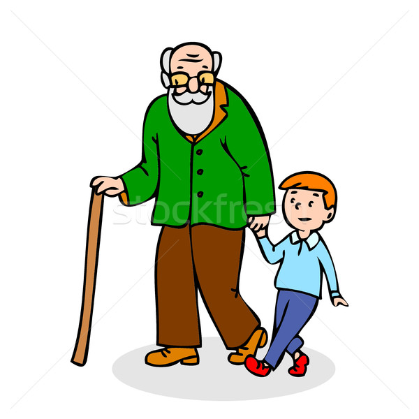 Grandfather with grandson. Funny old man with walking cane and w Stock photo © cosveta