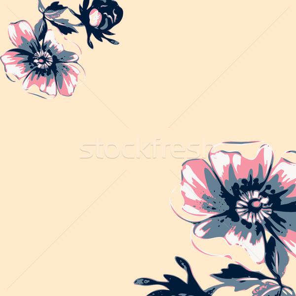 Vintage wallpaper frame rose flower pattern on beige background. Stock photo © cosveta