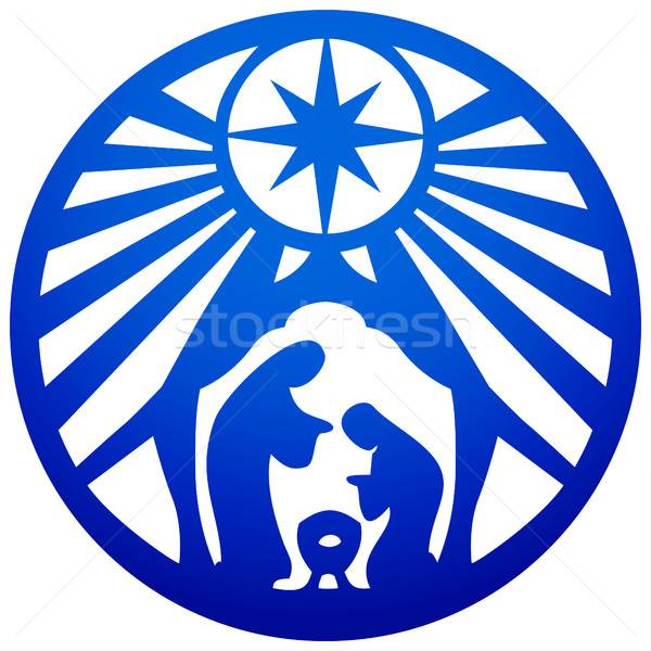 Holy family Christian silhouette icon vector illustration blue o Stock photo © cosveta