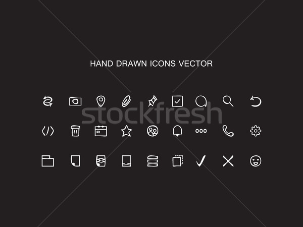 Abstract vector Hand drawn outline web icons set Office on black Stock photo © cosveta