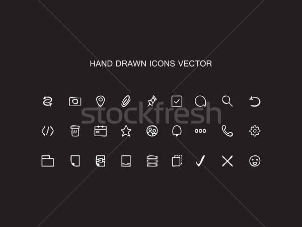 Resumen vector dibujado a mano iconos de la web establecer Foto stock © cosveta