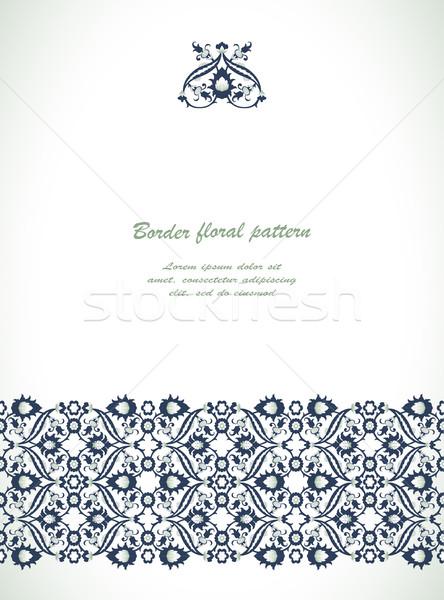 кружево дамаст бесшовный границе цветочный украшение Сток-фото © cosveta