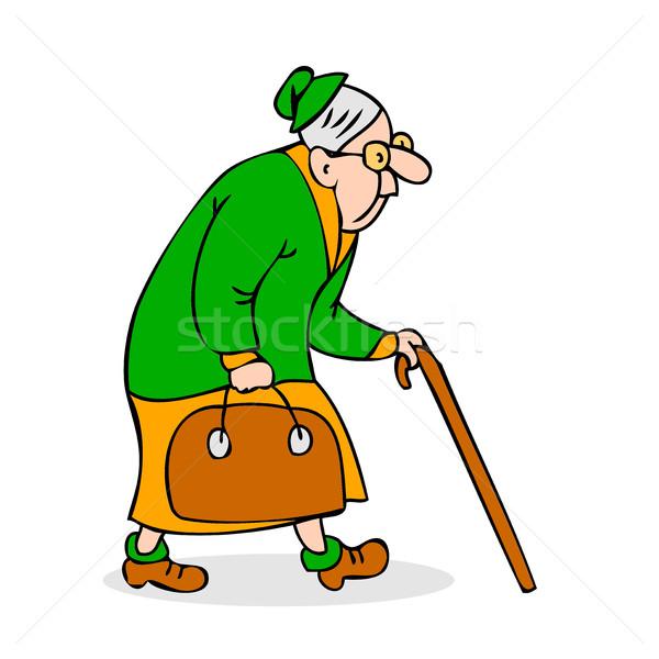 Velha saco avó óculos caminhada Foto stock © cosveta