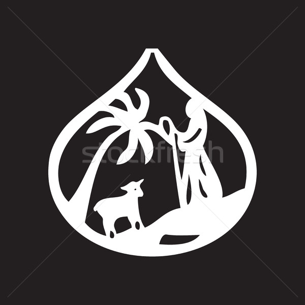 Jesus leader sheep silhouette icon vector illustration Stock photo © cosveta