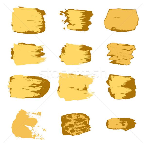 Vektor ecset arany festék absztrakt fehér Stock fotó © cosveta