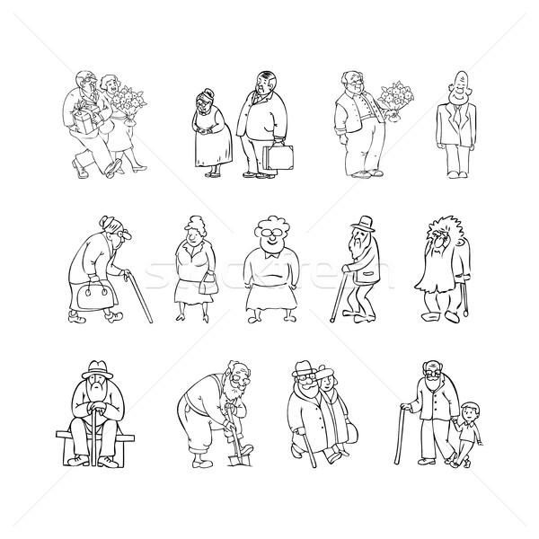 Aged people set black, white vector illustration. Scene with eld Stock photo © cosveta
