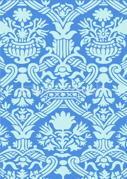Blu senza soluzione di continuità abstract floreale pattern vintage Foto d'archivio © cosveta