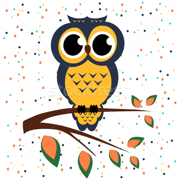 Vector owl sitting on a branch the backdrop dots circles  patter Stock photo © cosveta