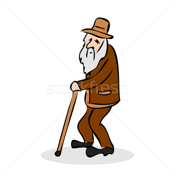 Funny old man with hat and walking cane. Grandfather with a long Stock photo © cosveta