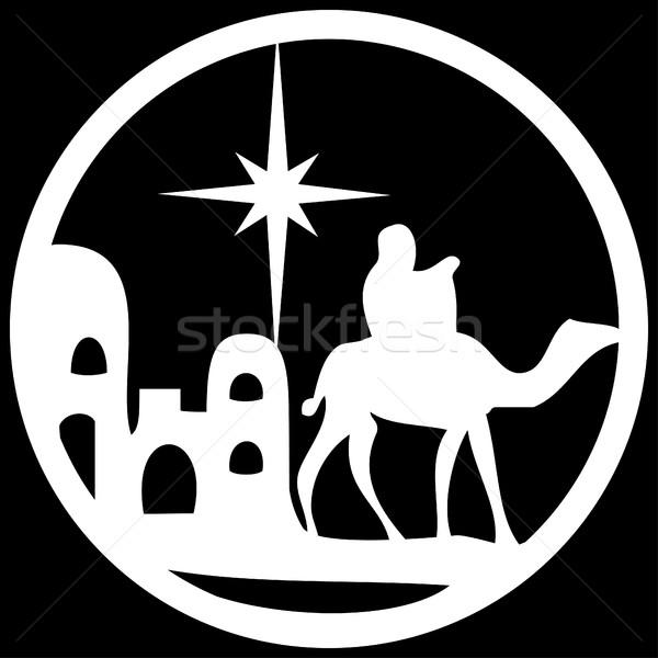 Sylwetka ikona biały czarny scena Zdjęcia stock © cosveta
