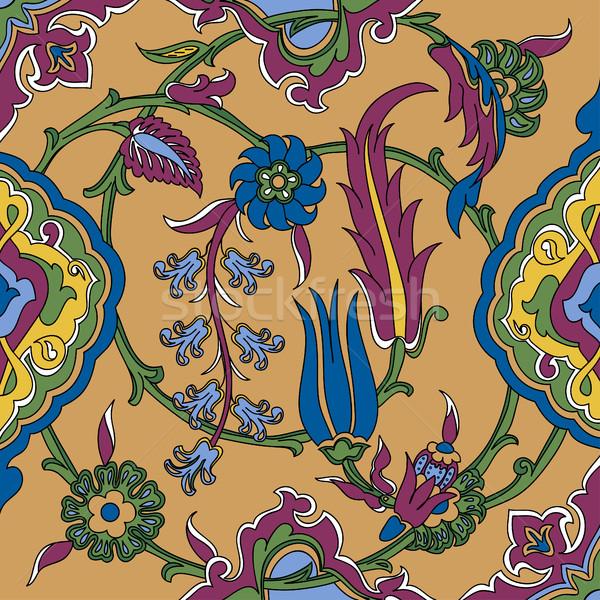 Vektor Fliese orientalisch floral ethnischen Zeichnung Stock foto © cosveta