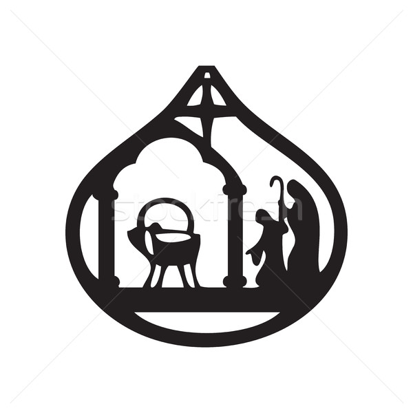 Adoration of the Magi silhouette icon vector illustration on bla Stock photo © cosveta