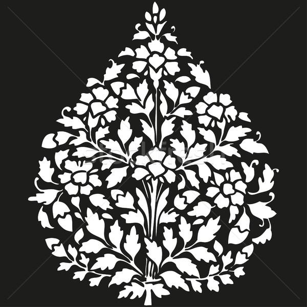 Stok fotoğraf: Simetrik · bitki · çiçekler · yaprak · siyah