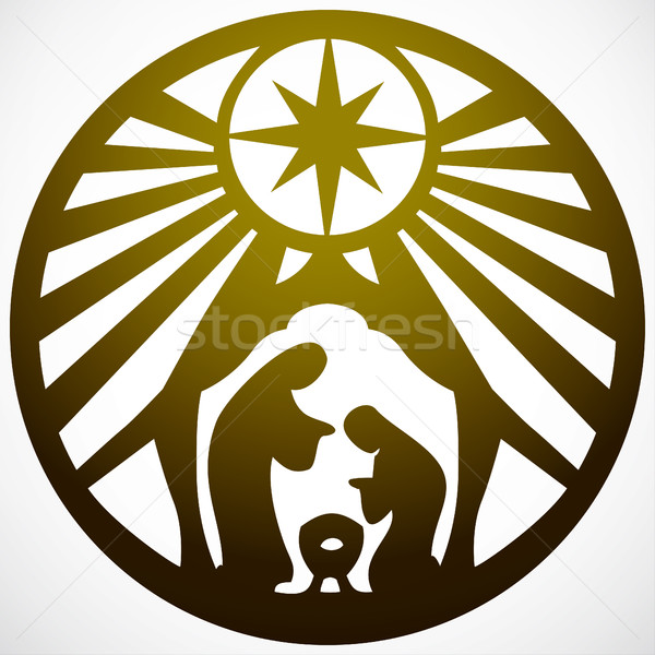 Holy family Christian silhouette icon vector illustration gold o Stock photo © cosveta