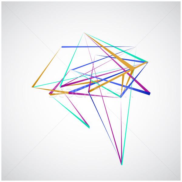 Colorido linhas formas abstrato isolado branco Foto stock © cosveta