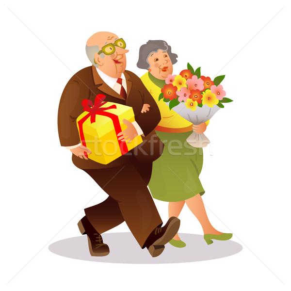 Foto stock: Feliz · ancianos · Pareja · ramo · flores · regalo