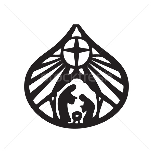 Holy family Christian silhouette icon vector illustration on whi Stock photo © cosveta