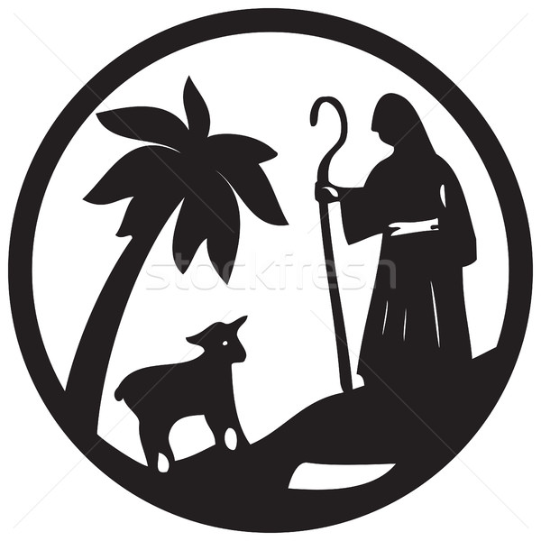 Shepherd and Sheep silhouette icon vector illustration black on  Stock photo © cosveta
