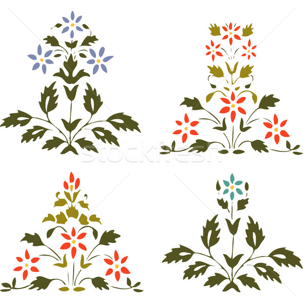Vector illustration set blooming plant with flowers and leaf on white backgrounds Stock photo © cosveta
