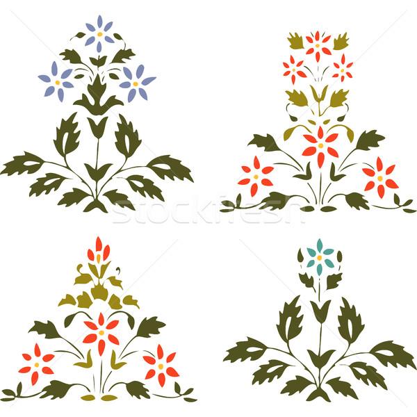 Zestaw roślin kwiaty liści bieli tła Zdjęcia stock © cosveta