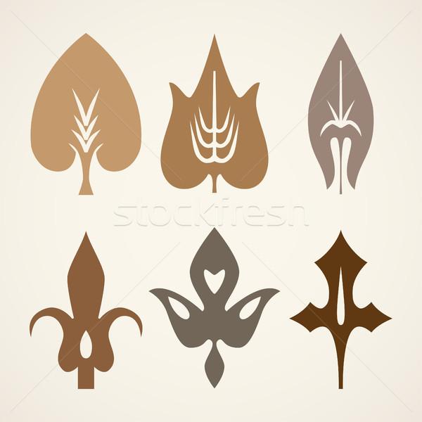 Foto stock: Decorativo · marrom · folhas · padrão · conjunto · isolado