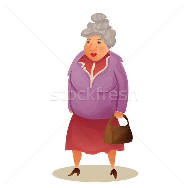 Foto stock: Funny · vieja · bolsa · abuela · caminando · colorido