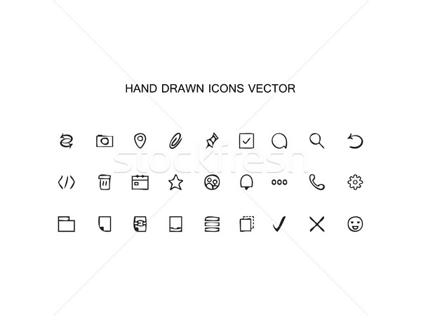 Stock photo: Abstract vector Hand drawn outline web icons set