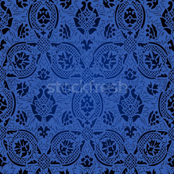 Foto d'archivio: Blu · nero · senza · soluzione · di · continuità · abstract · floreale · pattern