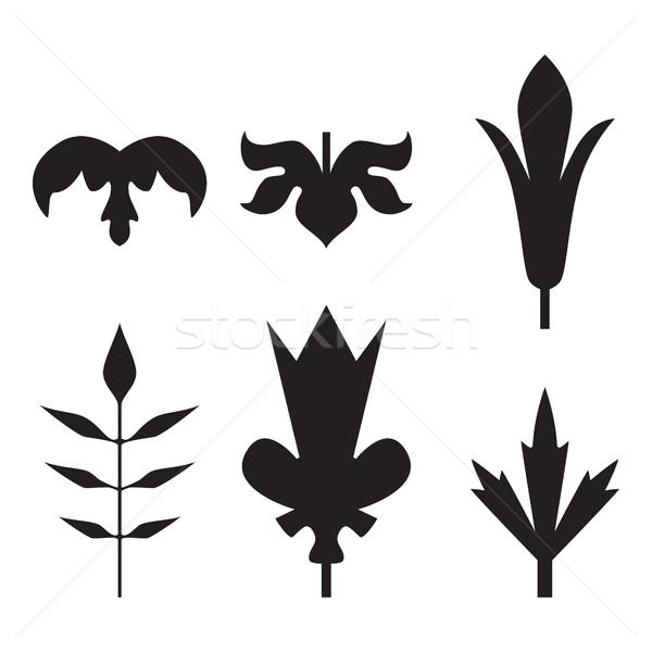 Decorativo preto folhas padrão conjunto isolado Foto stock © cosveta
