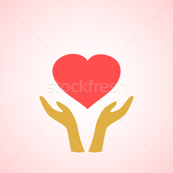 Stylized red heart on hands vector icons vector illustration