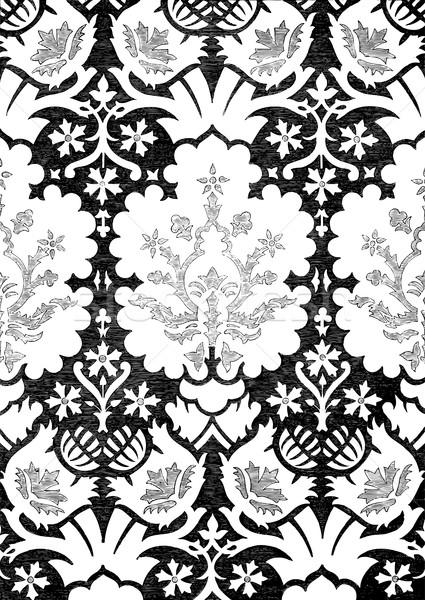 Resumen floral vintage blanco negro patrón Foto stock © cosveta