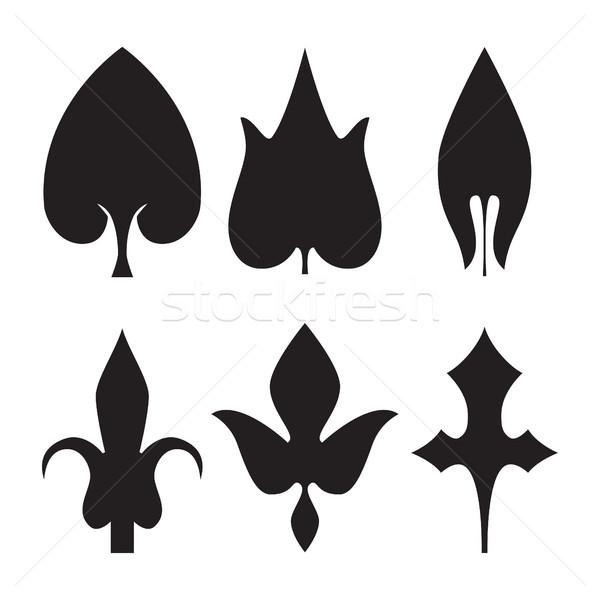 Foto stock: Decorativo · preto · folhas · padrão · conjunto · isolado