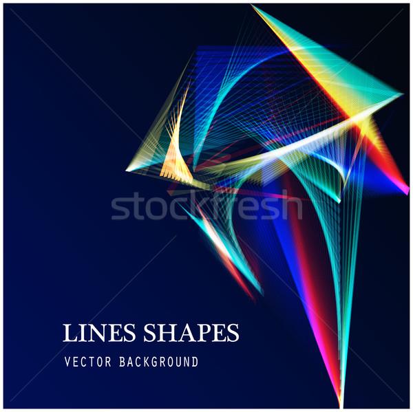 Lines shapes light abstract on blue dark background. Vector expa Stock photo © cosveta